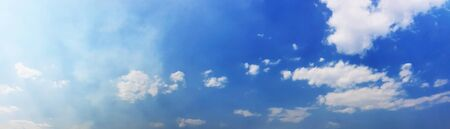 Panorama sky with cloud on a sunny day. Beautiful cloud. Panoramic image.