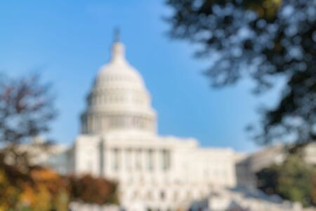 Out of Focus of The United Statues Capitol Building on a sunny day, Washington DC, USA. Imagens