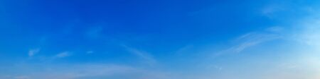 Panorama sky with beautiful cloud on a sunny day. Panoramic high resolution image.