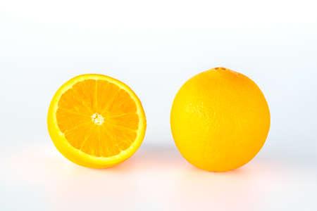 Orange fruit slice isolated on white background.