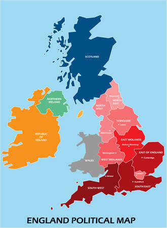 England political map divide by state colorful outline simplicity style. Vector illustration. 矢量图像