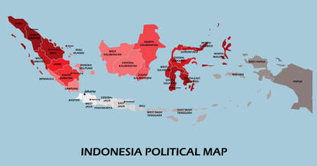 Indonesia political map divide by state colorful outline simplicity style. Vector illustration. Stock Illustratie