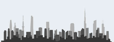 Abstract futuristic city sky with modern buildings vector wallpaper background. Vector illustration EPS 10.