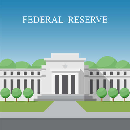 Federal reserve building in Washington DC, District of Columbia, USA. Flat design vector illustration.