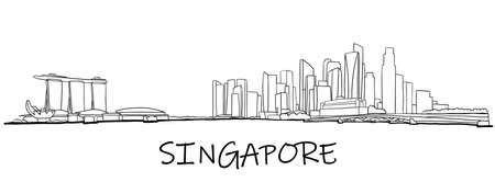 Singapore skyline freehand drawing sketch on white background. Vector illustration.