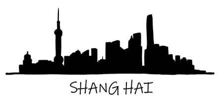 Shanghai skyline freehand drawing sketch on white background.