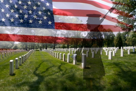 Great for 4th of July or Memorial Day  Grave stones in a row with a soldier silhouette and an US National flag  에디토리얼