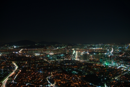 Night city life from Seoul  Suitable for a futuristic o night view for a modern city  Stock Photo