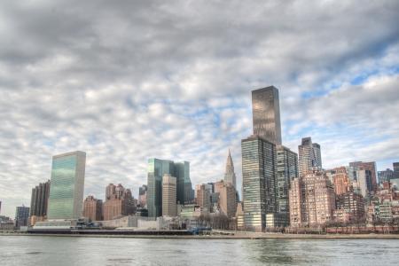 un: Manhattan Skyline view from Roosevelt Island  UN and Chrysler Buildings