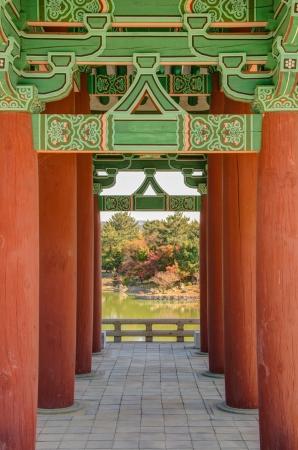 Old korean architecture detail  Kind of vanishing point  Anapji pond in Gyeongju, South Korea photo