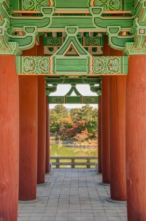 Old korean architecture detail  Kind of vanishing point  Anapji pond in Gyeongju, South Korea