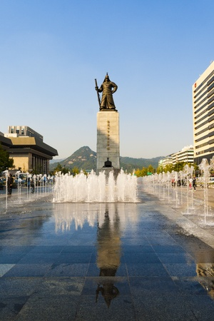 The Statue of Admiral Yi Sun-shin in Gwanghwamun Square  Seoul  Korea