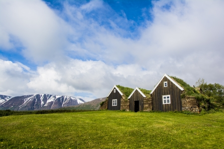 Green roof houses in Holar, Iceland Stock Photo - 21385362