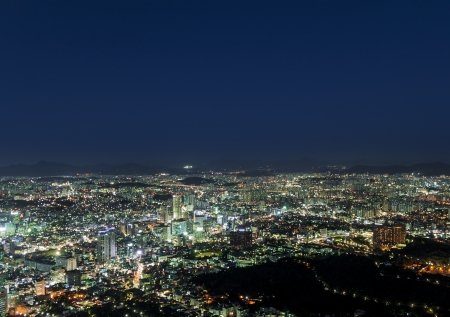 Night city view of Seoul. Suitable for a futuristic o night view for a modern city.