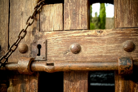 Old wooden door closed photo
