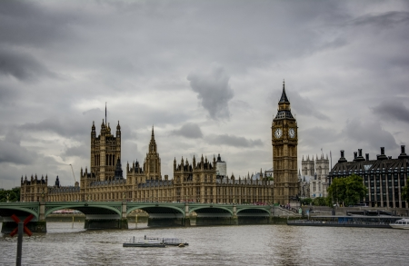 The Big Ben , the Houses of Parliament and Westminster Bridge in London. photo