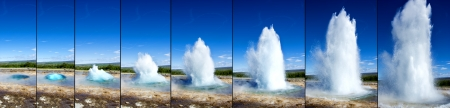 Strokkur Geyser eruption in sequence  Geothermal power, Iceland