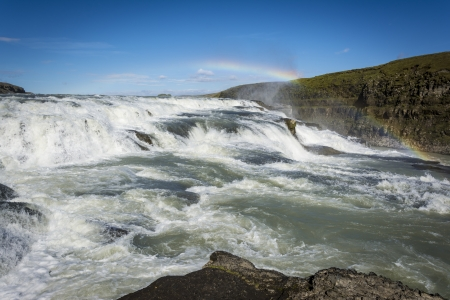 Gullfoss Waterfalls Iceland with the rainbow