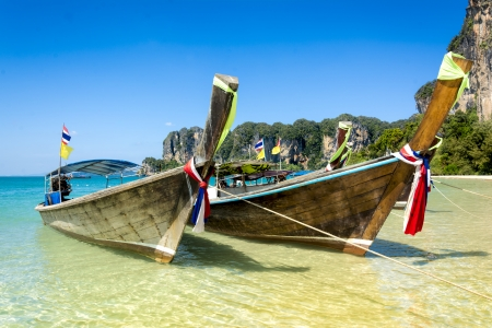 Long tail boats in Railay Beach, part of Krabi province in Thailand