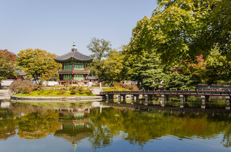 Korean temple, Emperors island in Gyeongbokgung palace  Seoul, South Korea photo