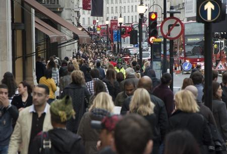 London Regent street full of people