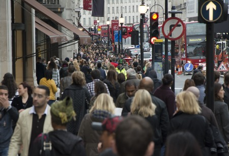 overpopulation: London Regent street full of people Editorial
