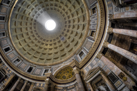 Roman Pantheons dome and the opening at the top called the Oculus with sun streaming through