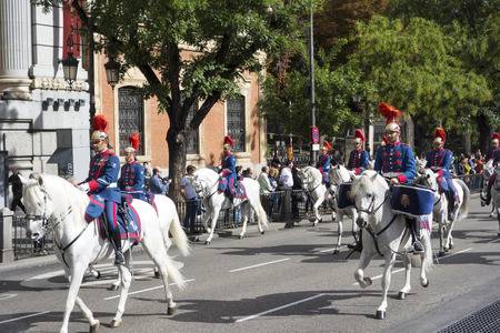 MADRID, SPAIN - OCTOBER 12: Spanish Royal Guard cavalry (Guardia Real) on the Spanish National day or Dia de la hispanidad (hispanity day)