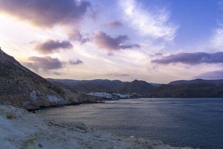 naturism: Las Negras Beach is a part of the natural park of Cabo de Gata, Almeria, Spain.Blue hour view