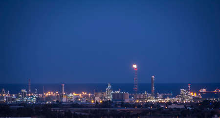petrochemical: Petrochemical factory with gas flare