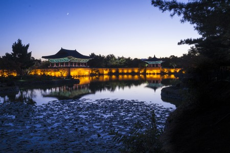 Sunset view of Korean old buildings. Anapji Pond in Gyeongju, South Korea