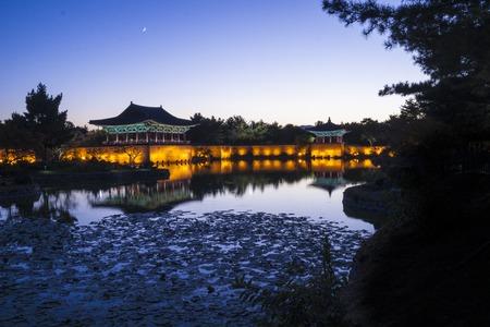 Sunset view of Korean old buildings. Anapji Pond in Gyeongju, South Korea