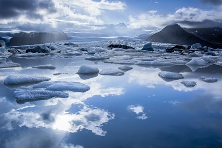 Iceberg in Jokulsarlon glacier lake in Iceland.  Stock Photo