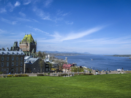 province: View of old Quebec and the Chateau Frontenac, Quebec, Canada. It was designated a National Historic Site of Canada during 1980. the site was the residence of the British governors of Lower Canada.