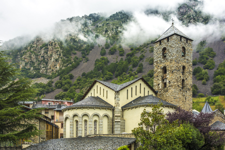 Sant Esteve church in Andorra, Pyrenees. Romanesque architecture 스톡 콘텐츠
