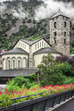 tourism in andorra: Sant Esteve church in Andorra, Pyrenees. Romanesque architecture Stock Photo