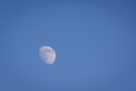 gibbous: Waxing gibbous moon. Photo taken during daylight hours providing a blue sky in the background.