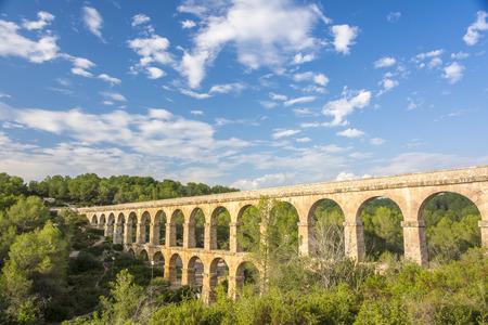 aqueduct: Beautiful view of roman Aqueduct Pont del Diable in Tarragona