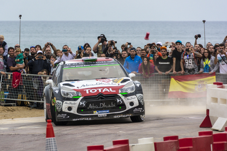 rallying: Salou, Spain. October 24: Car participating in the Rally of Spain, part of WRC 2015 Editorial
