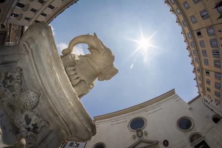minerva: Low-angle and fisheye view, obelisk  in Piazza della Rotonda area erected over  Berninis sculpture fronting Santa Maria sopra Minerva Church. Rome, Italy