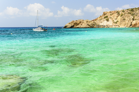 clear waters: Mediterraneans scene. Turquoise crystal clear waters of Ibiza island.