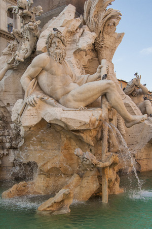 navona: Berninis Fountain of the Four Rivers - Fontana dei Quattro Fiumi, Piazza Navona, Rome, Italy