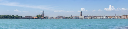 multiple images: Panorama of Venice, Italy. From San Giorgio tower on the left side to San Marco on the right. Multiple images stitched