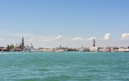 multiple images: Venice, Italy. From San Giorgio tower on the left side to San Marco on the right. Multiple images stitched Stock Photo