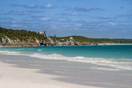yucatan: View of Tulum ruins, mayan architecture and the caribbean sea.