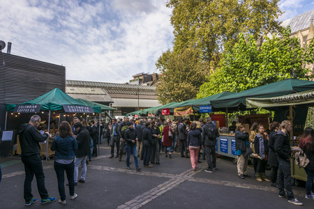 London, United Kingdom, October 10: Crowded Borough Market. Borough Market is one of the largest and oldest food markets in London