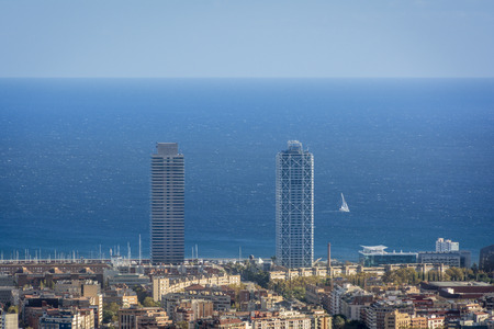 disctrict: Twin towers of disctrict in Barcelona, spain
