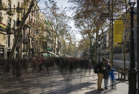 ramblas: Rambla of Barcelona crowded in low shutterspeed