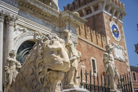 The Piraeus Lion is one of four lion statues on display at the Venetian Arsenal, where it was displayed as a symbol of Venices patron saint, Saint Mark.