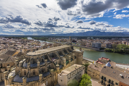 view of Cathedral from Suda castle. Tortosa , Catalonia, Spain